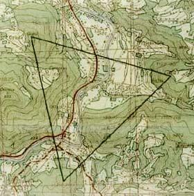 Triangolo equilatero che si forma unendo i vertici delle tre piramidi bosniache