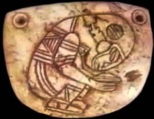 Manufatto maya con astronauta
