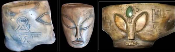 Artefatti maya con occhi a mandorla
