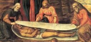 Dipinto raffigurante Gesù avvolto nel telo