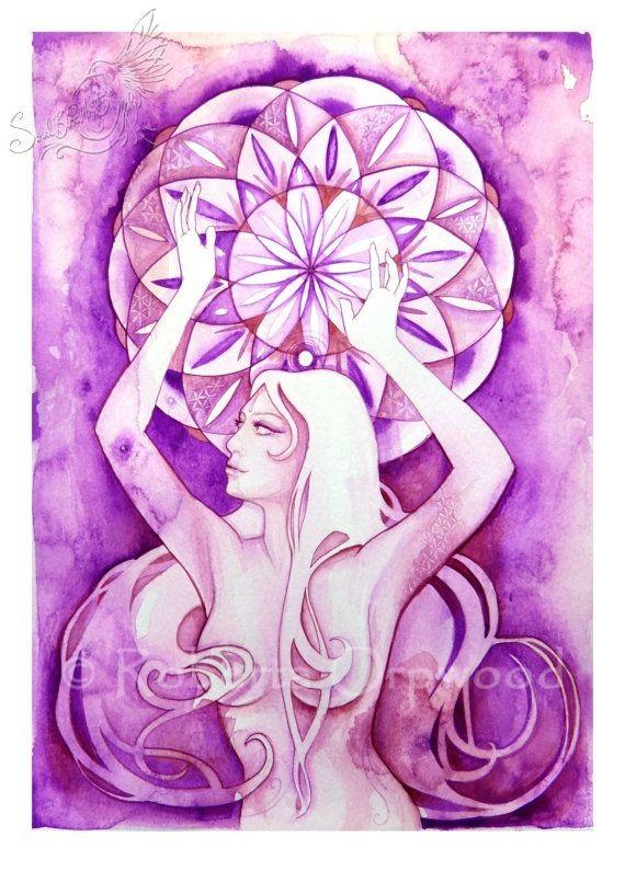 Stampa d'arte chakra / corona Chakra dea / guarigione arte parete ...