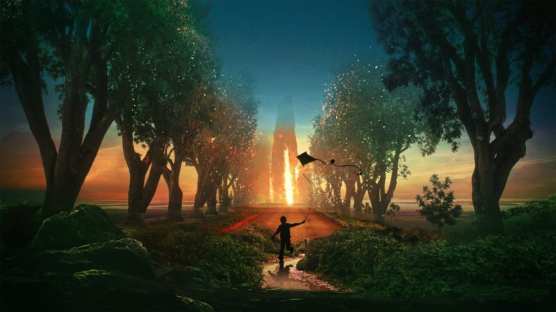 arte digitale paesaggio silhouette tramonto aquiloni golden Hour bambini