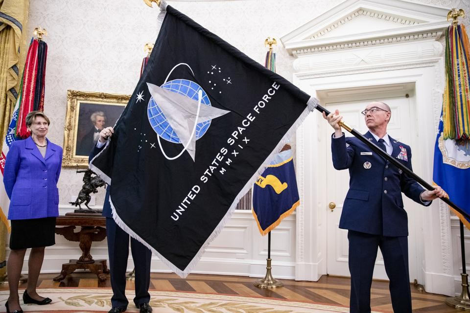 Trump Presented U.S. Space Force Flag, Promises 'Super Duper' Missile
