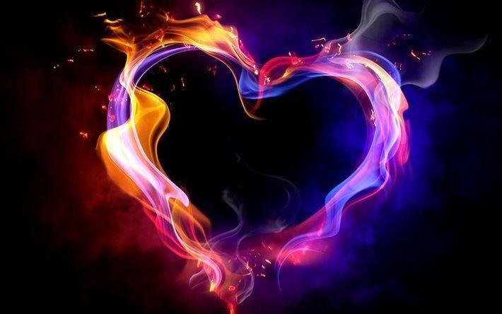Scarica sfondi cuore, fuoco, fiamma, ardente cuore, fumo besthqwallpapers.com   L'amore è, Cuore, Immagini