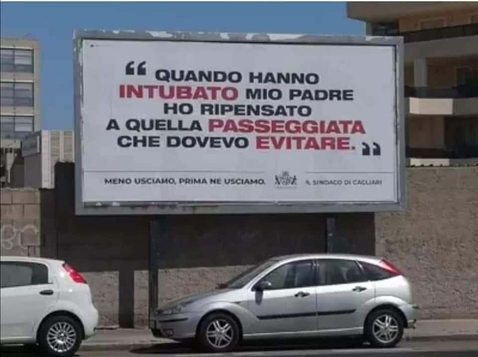 Coronavirus, manifesti shock a Cagliari: è bufera sul sindaco Truzzu