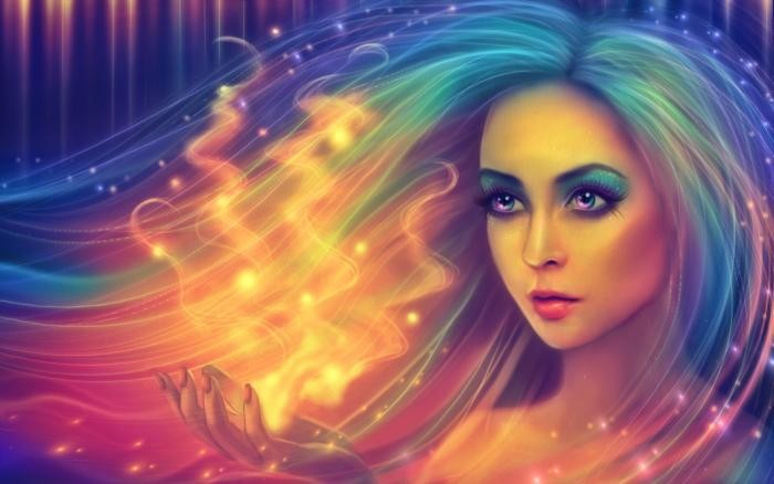 Fantasy Ragazza con arcobaleno capelli Download di sfondi HD