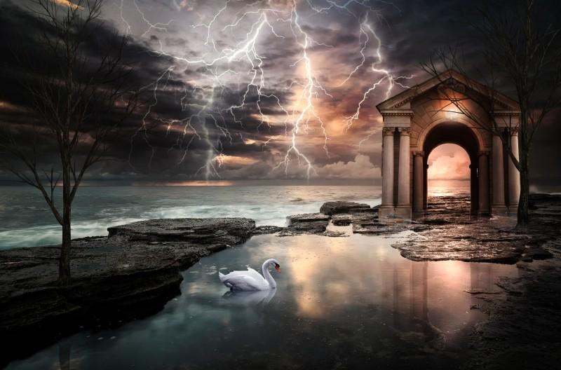 Stampe artistiche, quadri e poster con lampi, mare, natura, oscurità, oscurita', oscuro, paesaggi, paesaggio - oscurità tra i lampi